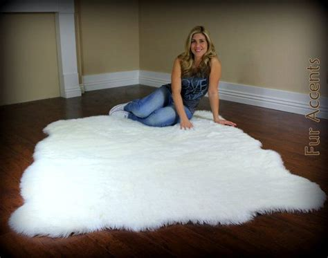 Large Faux Sheepskin Rug by Fur Accents Fleece Area Rug Thick Shaggy Faux Fur Random Shape