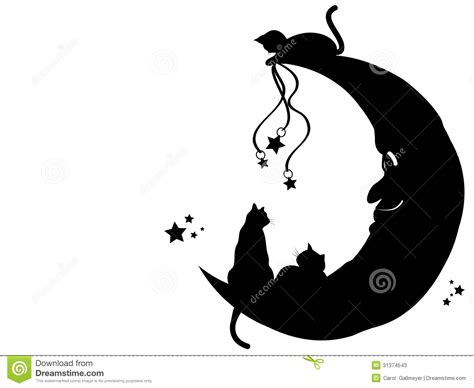 Fairy Wall Stickers chats sur la lune photos stock image 31374543