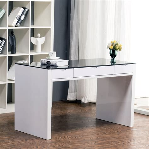 maestro computer desk white high gloss w black glass top
