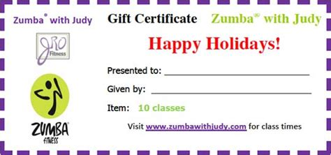 Jro Fitness Gift Certificate Zumba 174 With Judy Fitness Gift Certificate Template