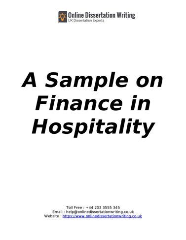 dissertation in finance finance in hospitality dissertation sle report