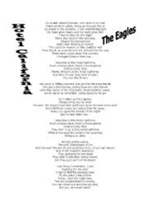 printable lyrics hotel california english teaching worksheets hotel california