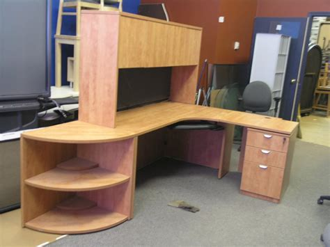 light cherry desk with overhead runoff file cabinet and