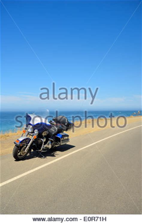 California Harley On Pch - harley davidson motorcycle pacific coast highway state route 1 stock photo royalty