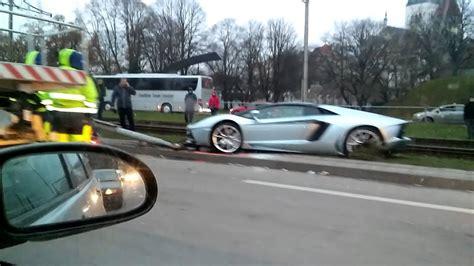 Lamborghini Youtube Crash by Lamborghini Crashed In Tallinn Youtube