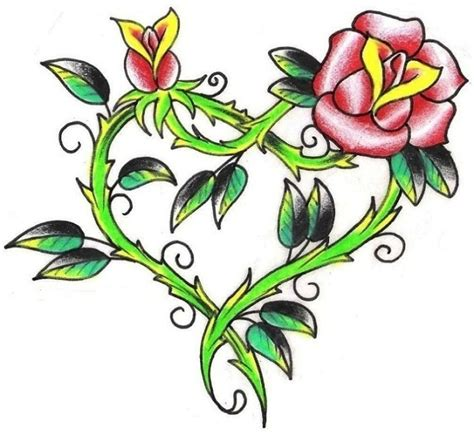 heart with vines tattoo design cross with vine roses flower drawing and