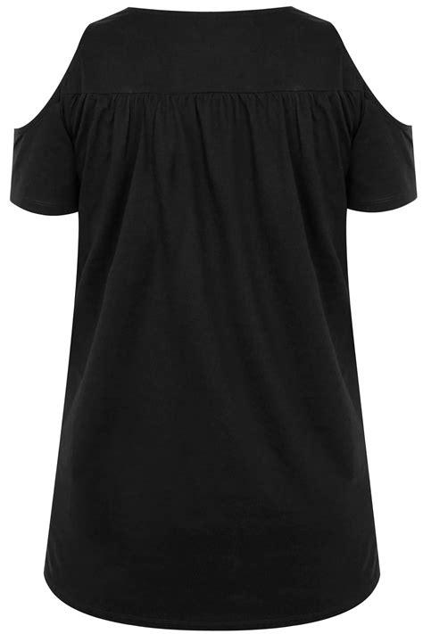 Md 6695 Fashion Bag black cold shoulder lace yoke top plus size 16 to 36