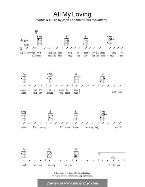 strumming pattern for you ll be in my heart all my loving the beatles by j lennon p mccartney on