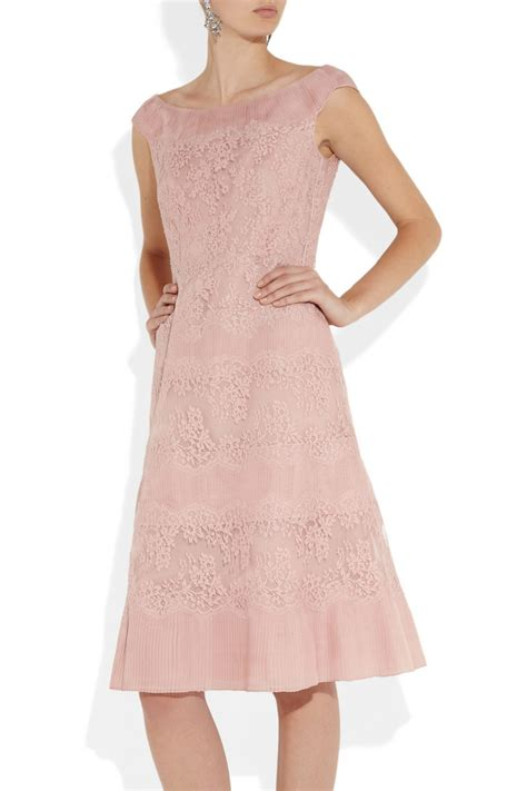 Pink Lace Dress 30580 lyst valentino lace and pleated silk organza dress in pink