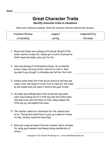 Identifying Character Traits Worksheet Free by Identifying Character Traits Worksheet Free Worksheets
