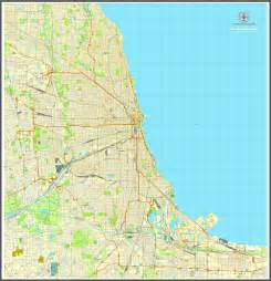 Chicago Illinois Us Map by Chicago Illinois Us Vector Map Adobe Illustrator