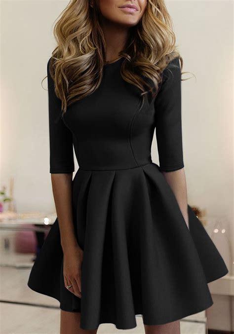 black pleated  neck  sleeve homecoming cute