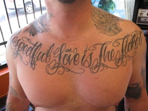 script tattoos for men chest script quotes quotesgram
