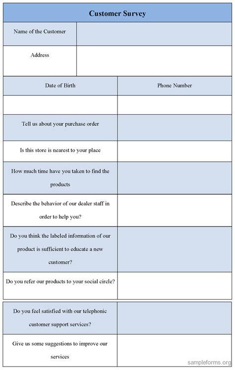 Customer Survey - customer survey form sle customer survey form sle forms
