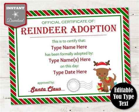 instant  editable reindeer adoption certificate