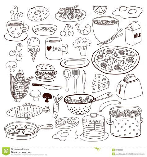 food doodle pens meal and ware doodle set stock vector image 55189303