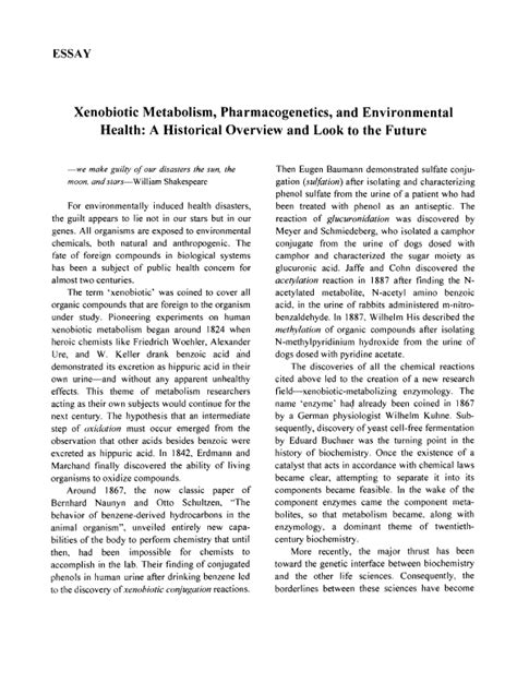 Essay About Health by Essay Xenobiotic Metabolism Pharmacogenetics And Environmental Health A Historical Overview