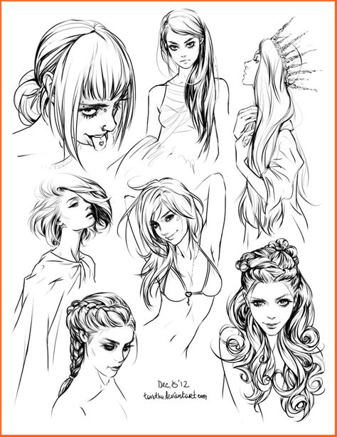 girl hairstyles drawing hair style sketches by tsvetka on deviantart