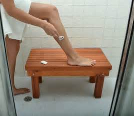 beautiful human leg on wood bench for diy shower bench