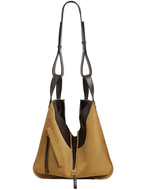 Hammock Bag Loewe Small Hammock Suede Leather Bag In Brown Lyst