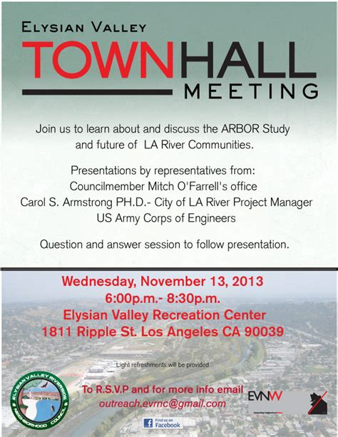 Ev Townhall Meeting La River Arbor Study November 13 2013 Evnw Town Invite Template