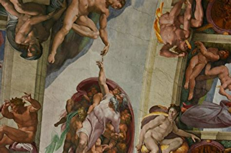 Sistine Chapel Ceiling Adam And by Up Of Ceiling Panel By Michaelangelo Downfall Of