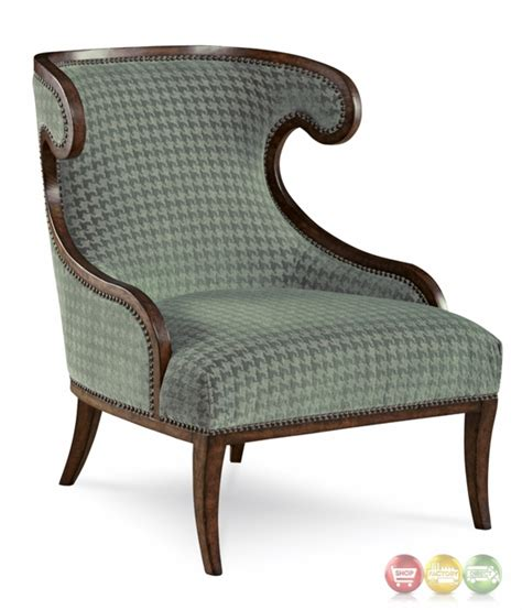 Houndstooth Accent Chair by Palazzo Italian Curved Accent Chair With Faded Teal