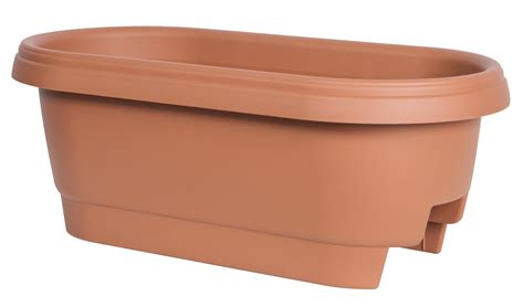 Fiskars 24 Inch Deck Rail Planter Box Color Clay 477241 Deck Rail Planter Boxes