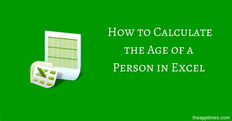 how to determine age how to calculate the age of a person in excel theapptimes