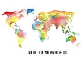 World Map Art by Watercolor World Map Art Print Tolkien Quote Illustration