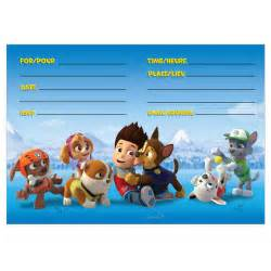 paw patrol party invitations 8ct