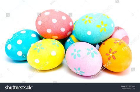 Handmade Easter Eggs - colorful handmade easter eggs isolated on a white stock