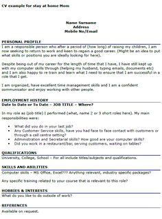 resume for stay at home exle a stay at home resume sle for parents with only a