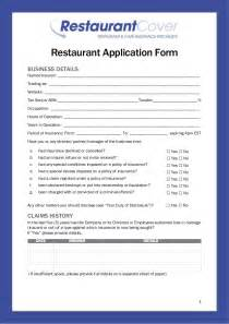 restaurant application form restaurant cover insurance