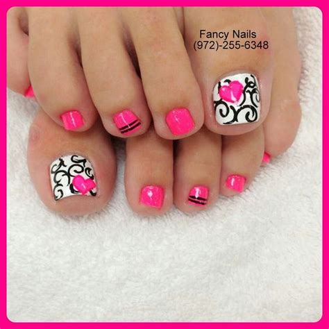 Stewart Gets Nails Toes Did by Black And White Damask Swirls With Pink Toe Nail