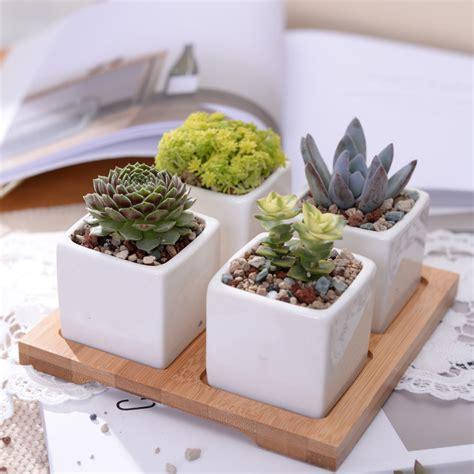 Pot Anggrek Dari Kayu 1 Set set of 4 minimalist cube flowerpots white ceramic succulent planter pot with bamboo stand for