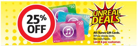 Coles Gift Cards Discount - expired a healthy 25 off itunes cards at coles this week gift cards on sale