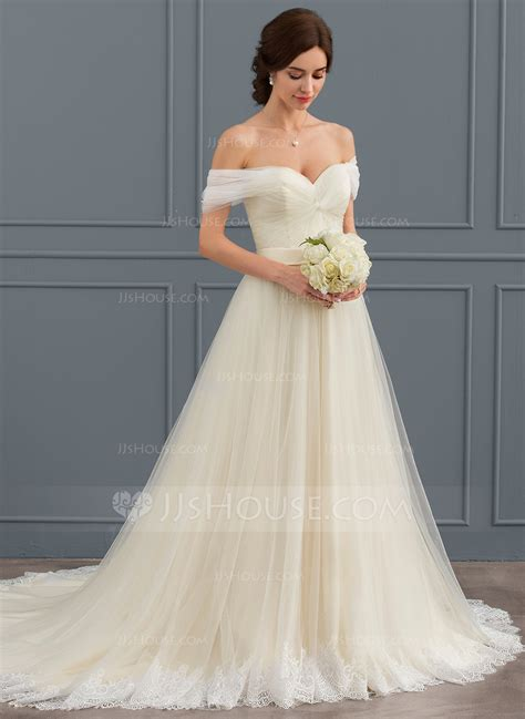 ball gown   shoulder court train tulle lace wedding