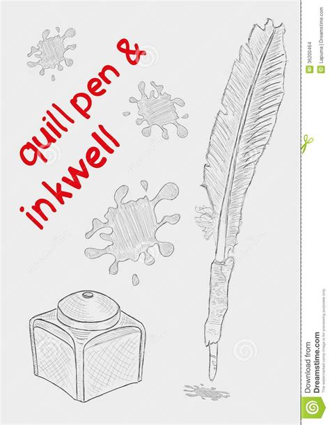 quill sketchbook quill pen and inkwell stock images image 36200464