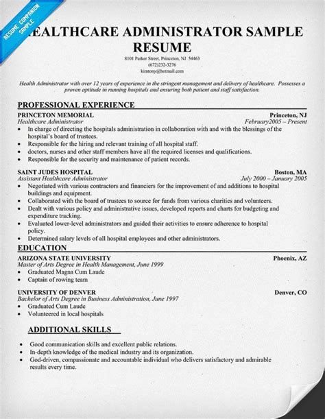 resume objective exles healthcare administrator health administrator resume free resume exle http resumecompanion health career