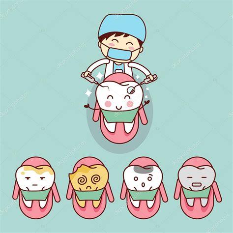 imagenes animadas de odontologia dentista de dibujos animados lindo con diente vector de