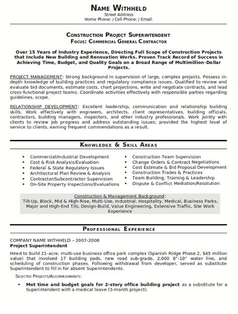 resume exles construction resume sle construction superindendent page 1 chris