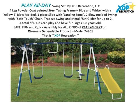 swing information xdp recreation swing set 74201 play all day xdp