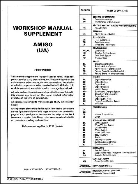 online service manuals 1998 isuzu oasis instrument cluster service manual 1998 isuzu amigo engine overhaul manual 1998 isuzu amigo problems online
