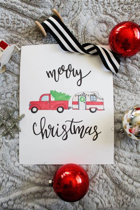 printable merry christmas red truck