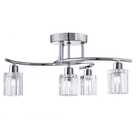 Contemporary Semi Flush Ceiling Lights Searchlight Block Modern 4 Light Semi Flush Ceiling Light In Satin Silver Finish 2924 4ss