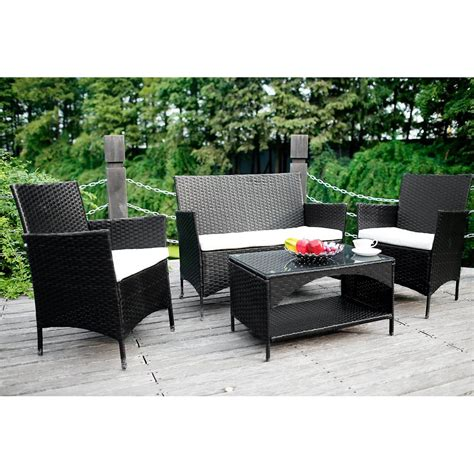 4 Piece Outdoor Pe Rattan Wicker Sofa And Chairs Set 4 Wicker Patio Furniture