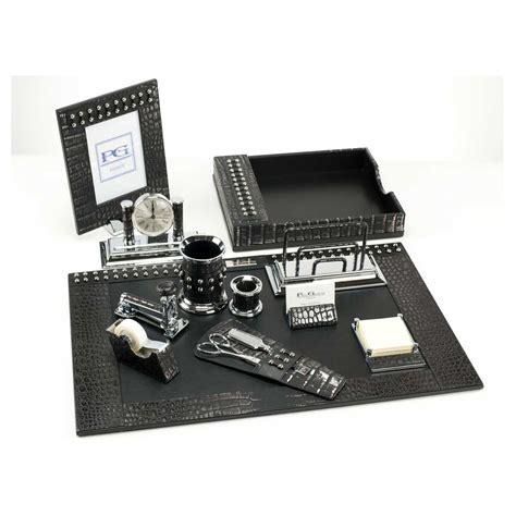 Black Desk Set by Black Metallic Crocodile Premier Leather Desk Set Paolo
