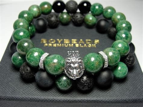 beaded bracelets edgar ernest boybeads green jade sterling silver