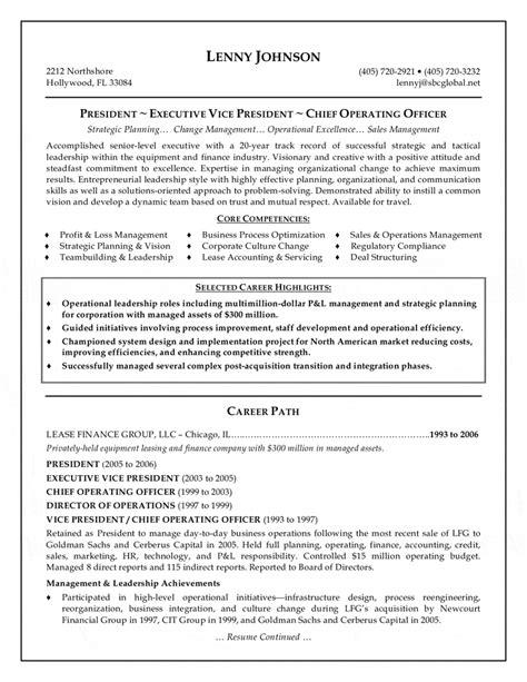 resume sample 8 senior executive resume career resumes